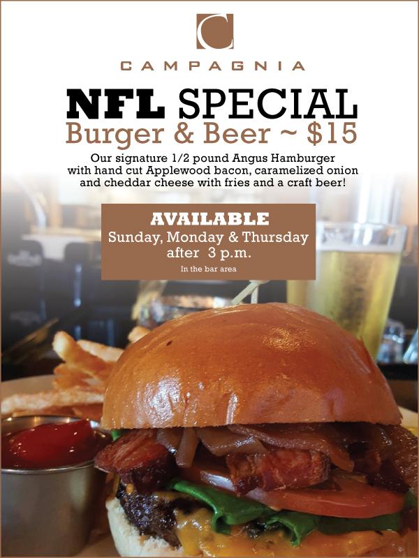 Campagnia Bistro Fresno | NFL Burger & Brew Special